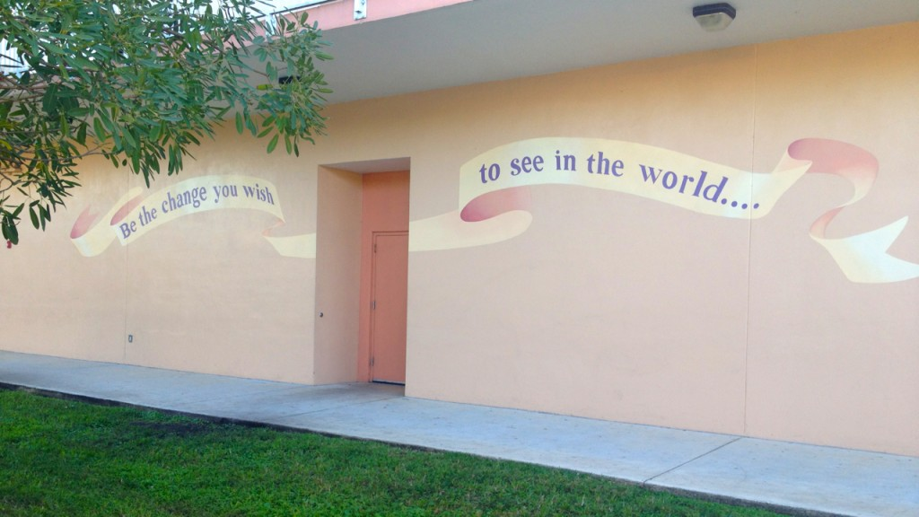 mural outside classroom wall