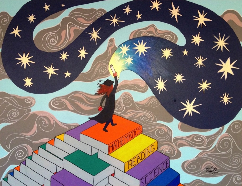 Painting of Graduate walking up books into stars